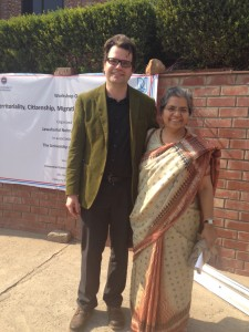 Wilfried with Prof Asha Sarangi from JNU's Centre for Political Studies